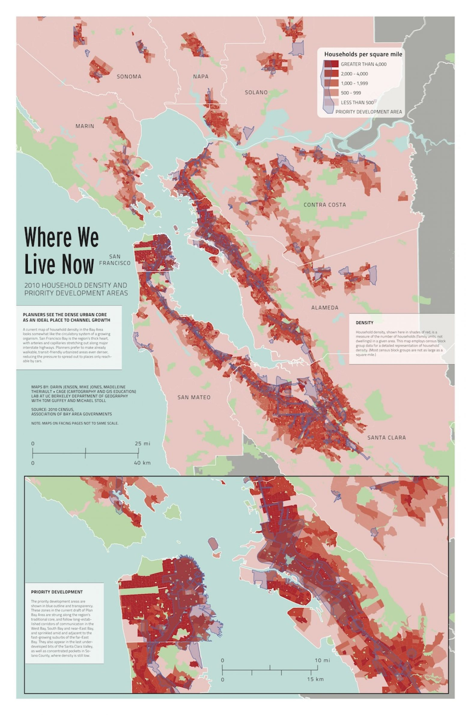 Image of: Map Where We Live Now 2010 Household Density And Priority Development Areas San Francisco Public Press