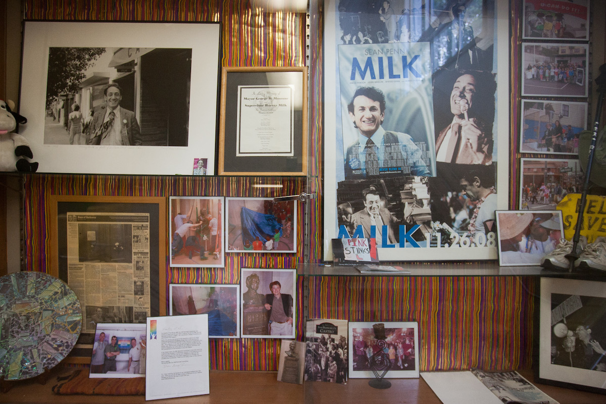Harvey Milk Civil Rights Academy is named after California's first openly gay elected politician, honored by a shrine in the hallway. Milk briefly worked as a teacher and made his name successfully campaigning against the 1978 Briggs Initiative, which would have required California schools to fire gay and lesbian teachers. Though the school named after him has experienced internal divisions and incidents of homophobia (Barry Schmell was once forced to delete anti-gay comments from the school's Facebook page) today it is a key institution for the Castro's diverse families and is a financial beneficiary of the annual Castro Street Fair. When the school was vandalized, neighborhood businesses and residents donated $15,000 through its well-designed website to help repair the damage and buy school supplies. Photo: Luke Thomas / San Francisco Public Press
