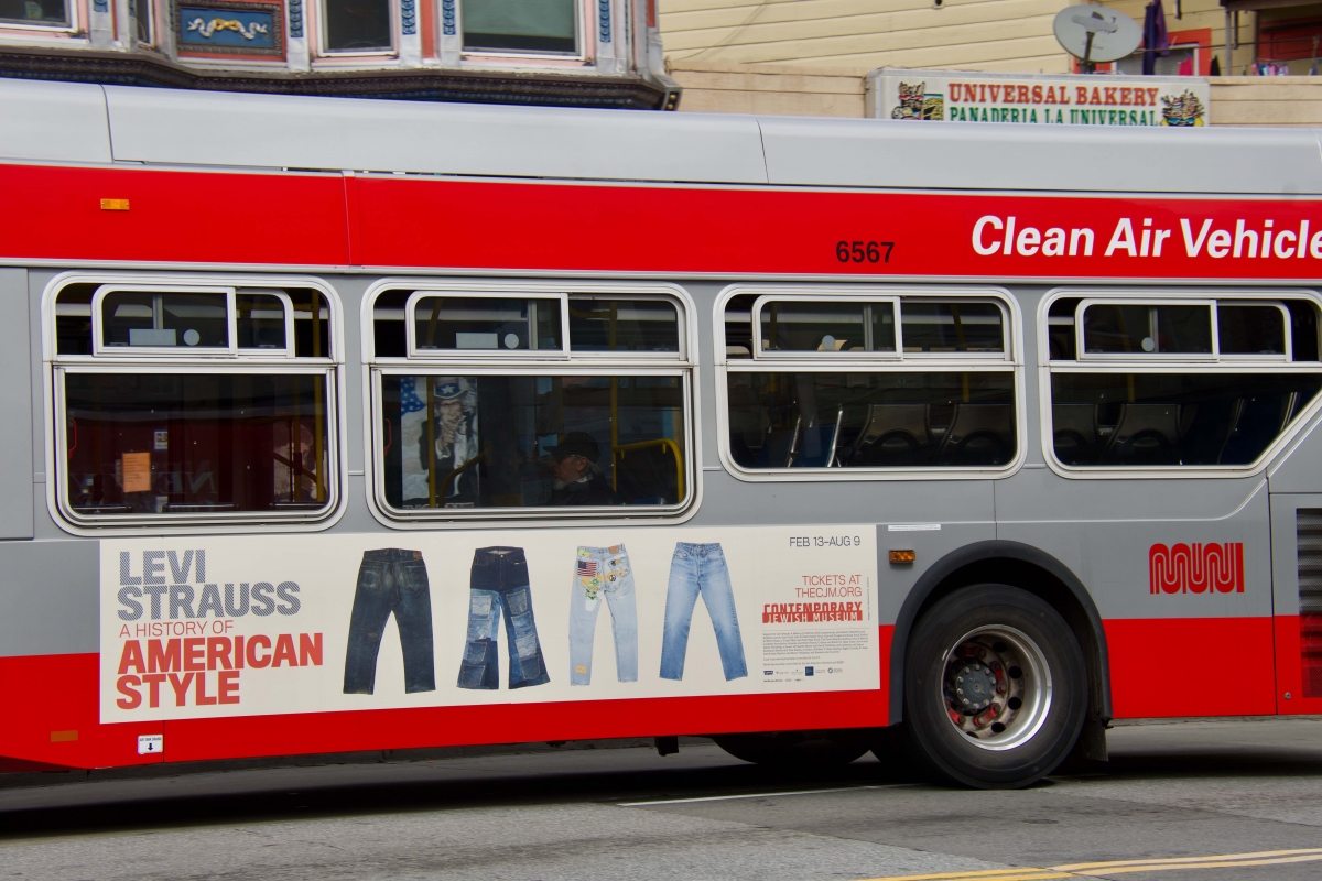 A 14 Mission bus displays an ad for the Levi Strauss exhibit at the now-closed Contemporary Jewish Museum. The 14 was one of the few routes still running in San Francisco on April 10, after drastic service cuts on April 8.