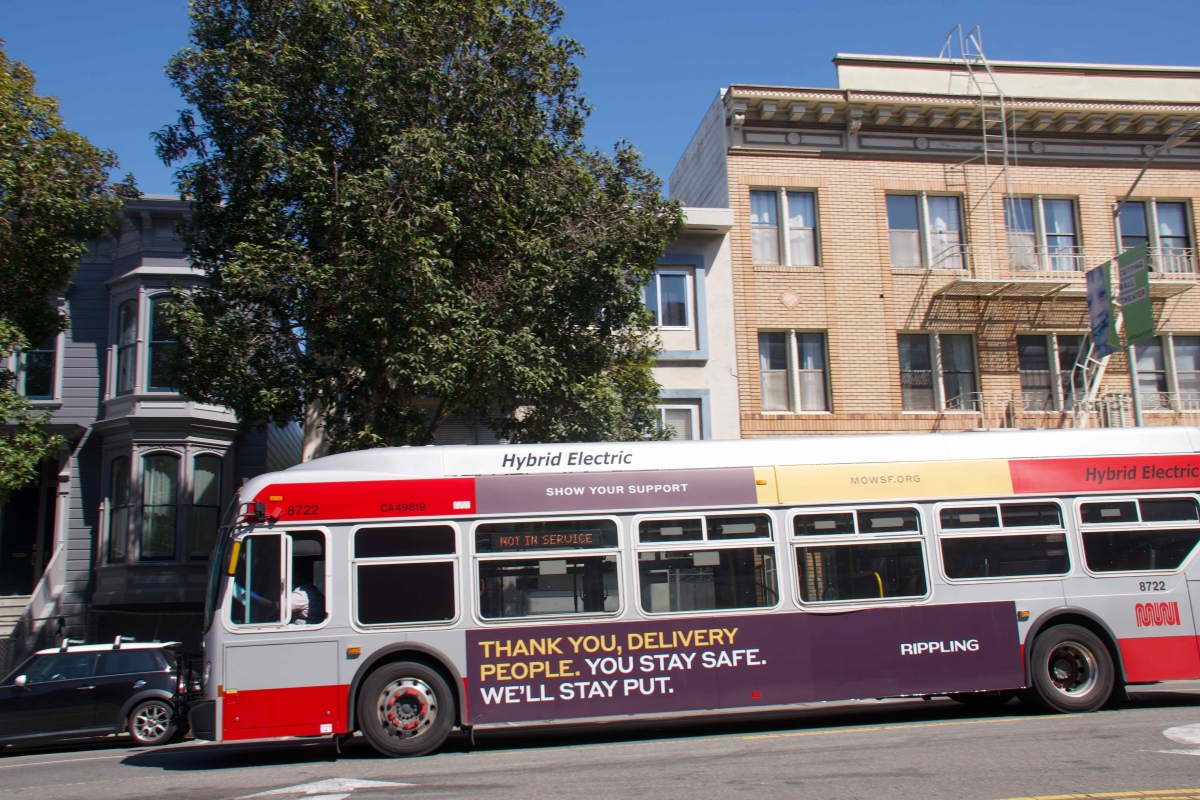 An ad supporting Meals on Wheels is displayed on an out-of-service bus on April 10.