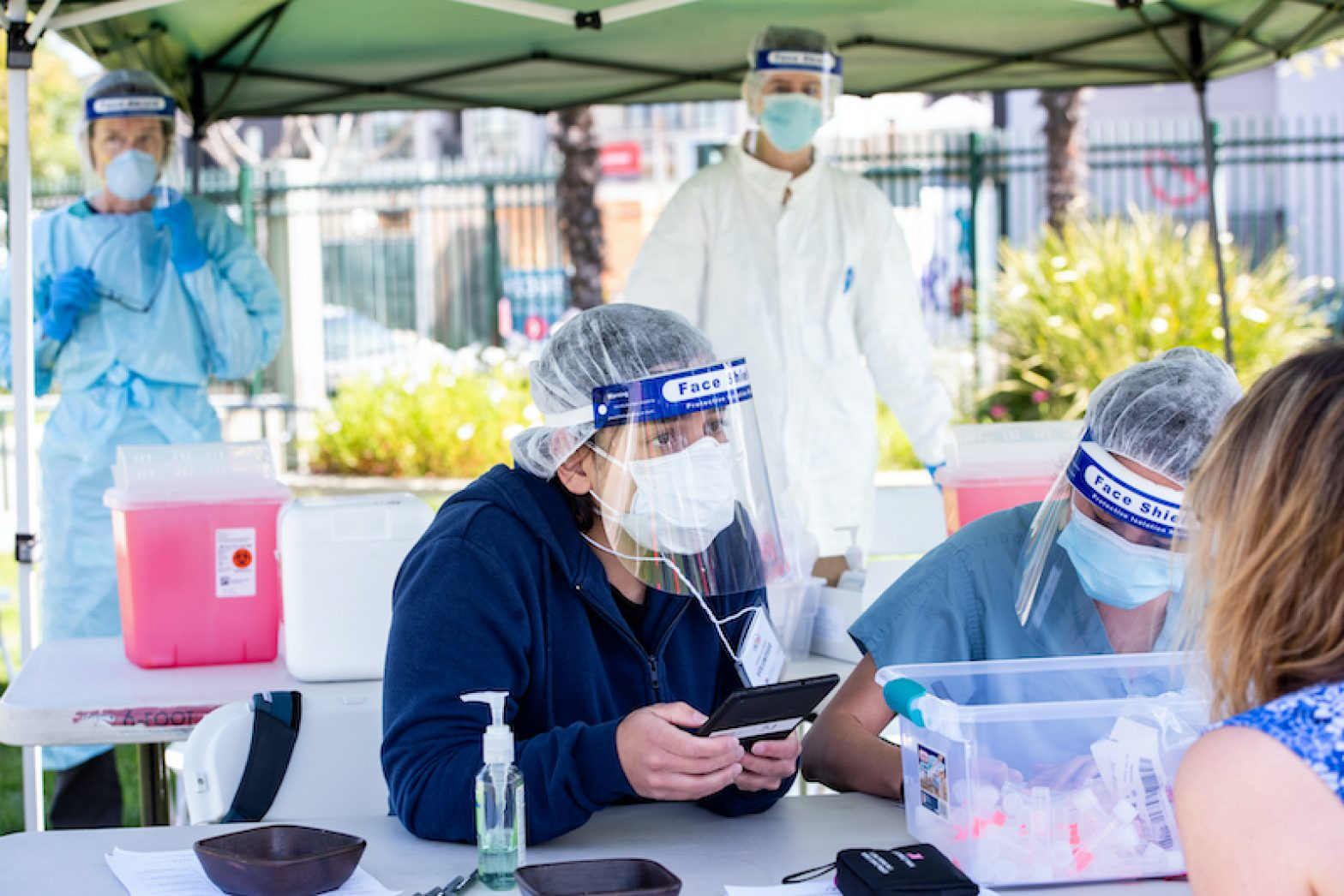Coronavirus testing in the Mission District on April 27, 2020. Barbara Ries / UCSF