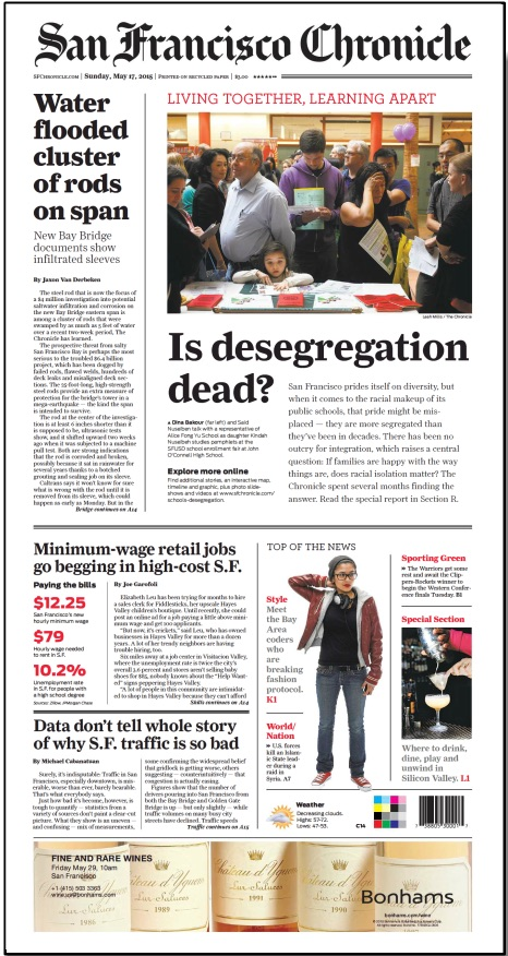 May 17, 2015 cover of San Francisco Chronicle