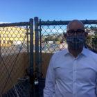 Supervisor Rafael Mandelman in an alley that overlooks the Everett Safe Sleeping Village. Laura Wenus / Public Press