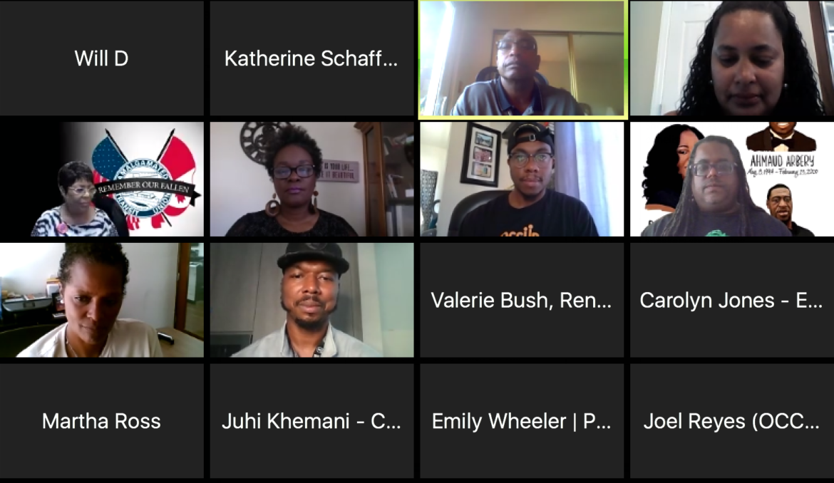 A panel of Bay Area Black community leaders discusses how to respond to the coronavirus pandemic. Screen capture from Zoom courtesy of BARHII.