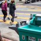A United Site Services handwashing station at Haight and Ashbury streets in March was completely out of soap.