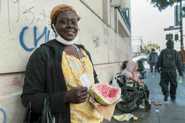 """For the past two years, Virlea Johnson, 53, has lived in a single-room-occupancy hotel on McAllister Street in the Tenderloin. Before moving into the residential hotel, Johnson lived in a tent in the same neighborhood. """"You have to be cautious inside and outside,"""" she says. """"The things that happen out here also go inside the buildings."""""""