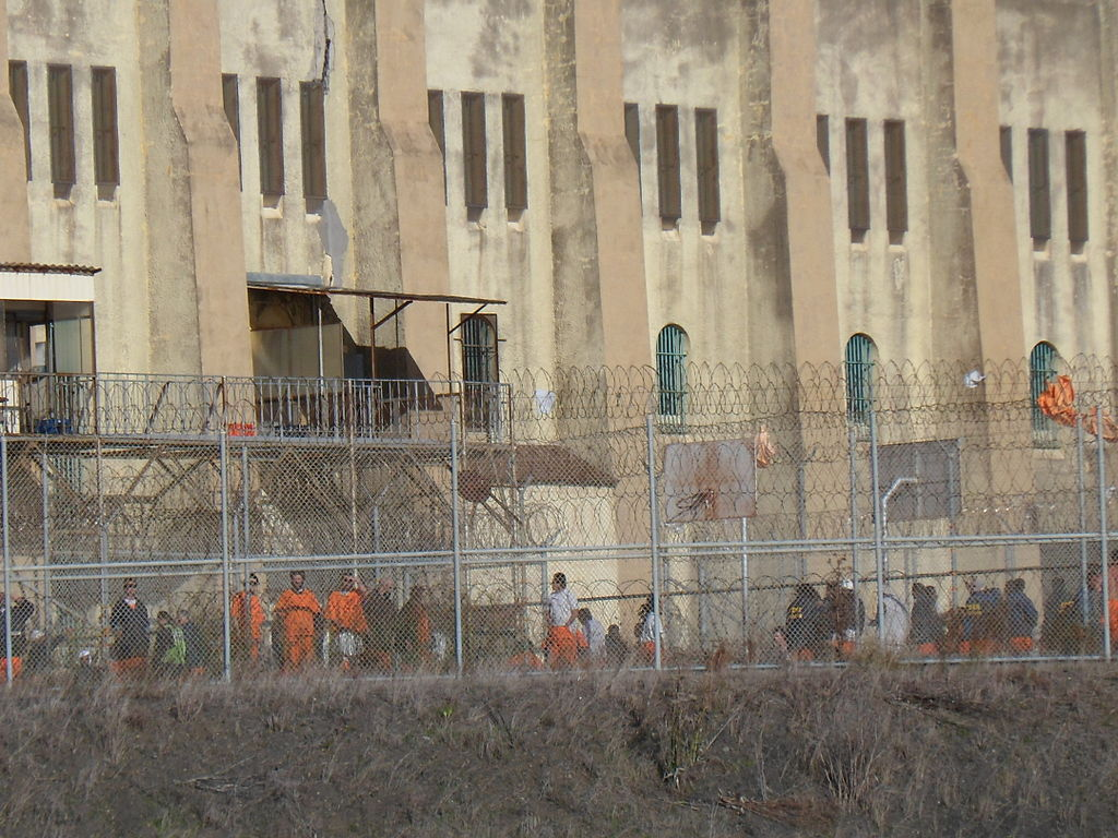 Inmates take in fresh air at San Quentin State Prison in Marin County.