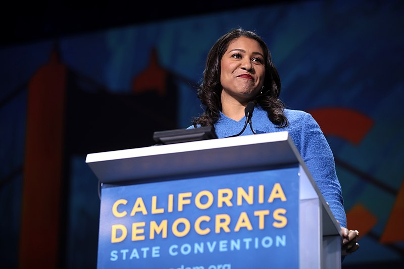 San Francisco Mayor London Breed speaks with attendees at the 2019 California Democratic Party state convention at Moscone Center.