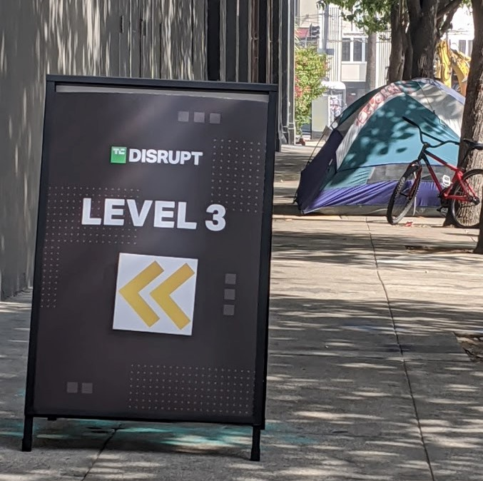 Several homeless residents have returned to the block their belongings were cleared from last week, ahead of Tech Crunch's Disrupt conference.