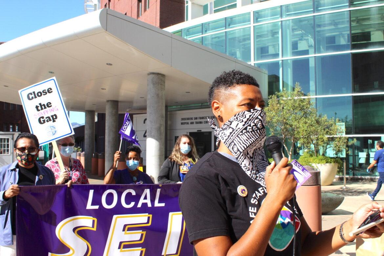 Registered nurse and union activist Jennifer Esten protests understaffing at Zuckerberg S.F. General Hospital