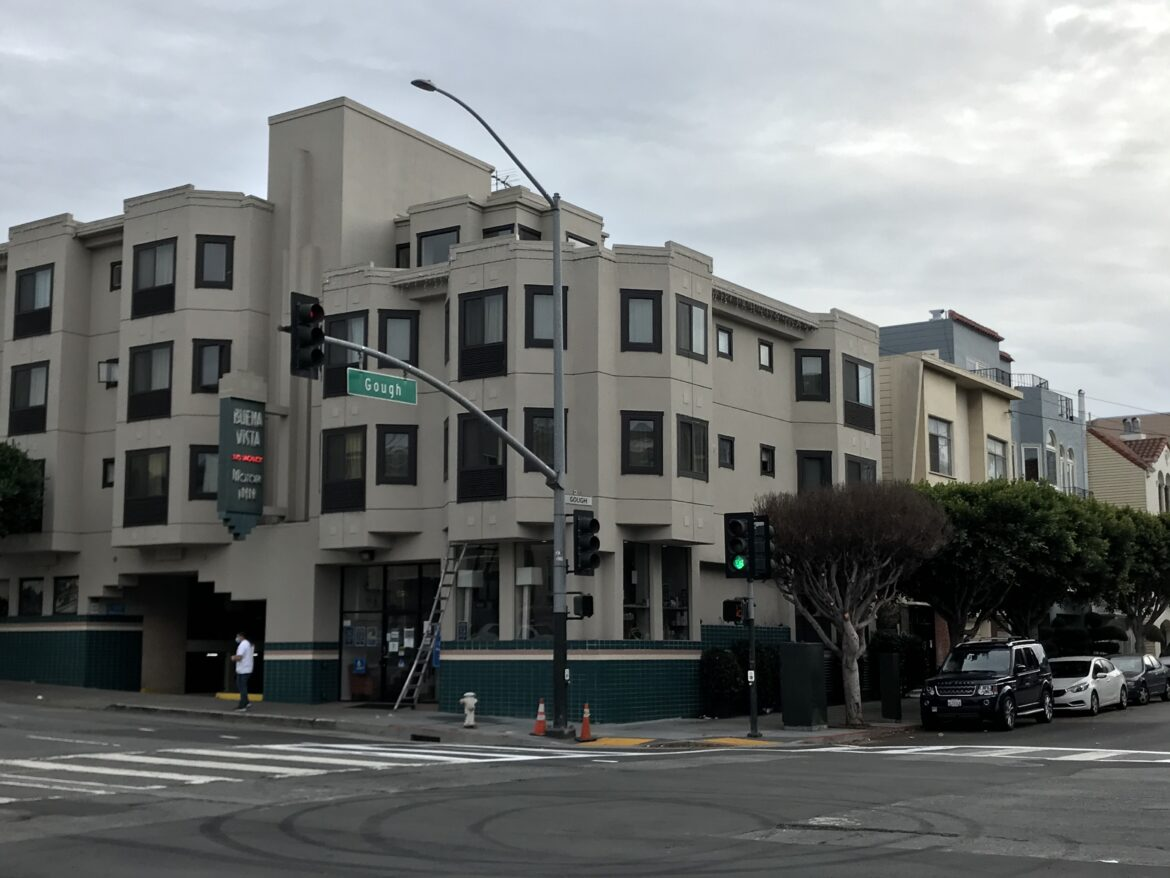 During the pandemic, San Francisco has housed about 2,200 homeless residents in shelter-in-place hotels, including the Buena Vista Inn at Lombard and Gough streets.
