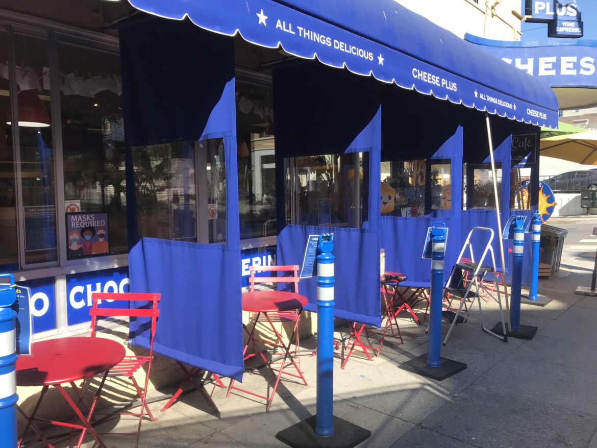 California has lifted its emergency lockdown order, and San Francisco will get official word on its new tier assignment Tuesday. City leaders expect San Francisco to be placed in the purple tier, which will once again allow outdoor dining. In October, Cheese Plus installed canvas dividers between tables along its Pacific Avenue sidewalk in the city's Russian Hill neighborhood.