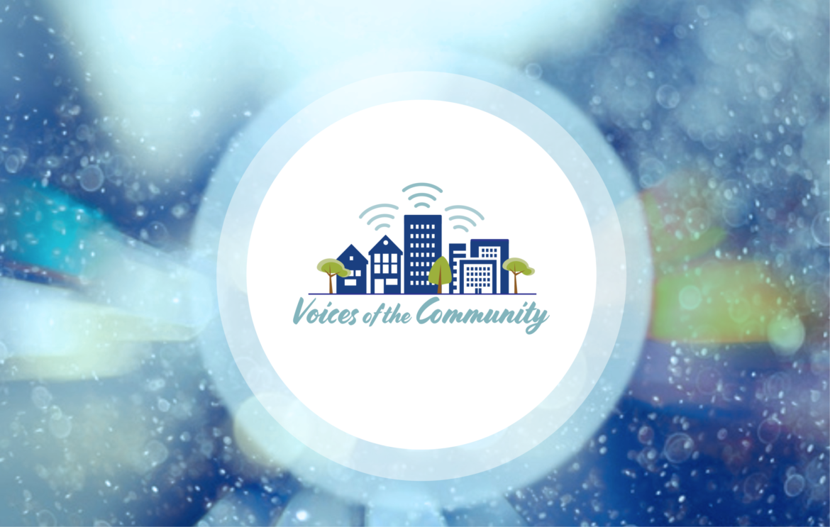 """This is the logo for """"Voices of the Community,"""" which airs on KSFP 102.5 FM in San Francisco on Thursdays at 8:30 a.m. and 6:30 pm. It also streams on ksfp.fm at those times and Thursdays at 12:30 p.m. and 10:30 p.m."""