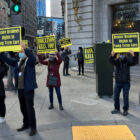 Long-term care advocates in front of the San Francisco Department of Public Health.