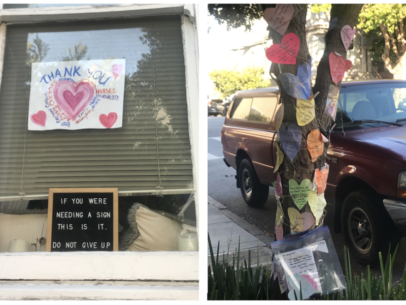 During the early days of the pandemic, San Francisco residents displayed signs expressing gratitude for essential workers and posted personal notes of appreciation on a tree near the corner of Vallejo and Gough streets.