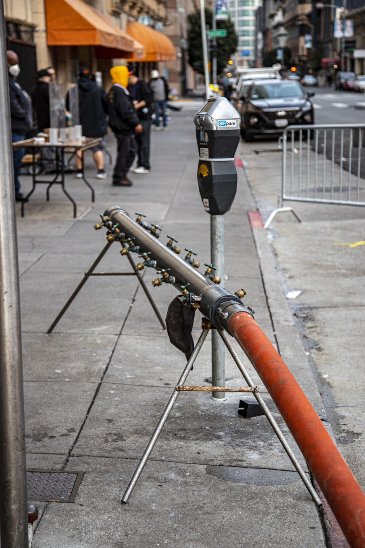 A water spigot in the Tenderloin is one of several San Francisco set up to help homeless residents with limited water access.