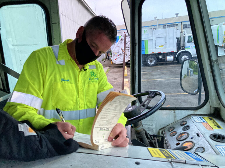 Recycling driver Gareth Willey ends a shift.