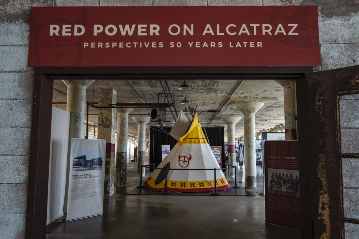 A recreation of John Trudell's teepee stands just inside the Red Power on Alcatraz exhibition.