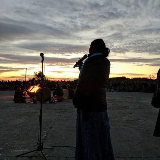 Morning Star Gali speaks before daybreak at a sunrise ceremony on Alcatraz.