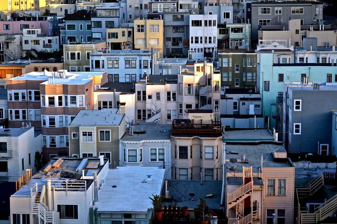 An aerial shot of 2-4 story apartment buildings in San Francisco's North Beach neighborhood.