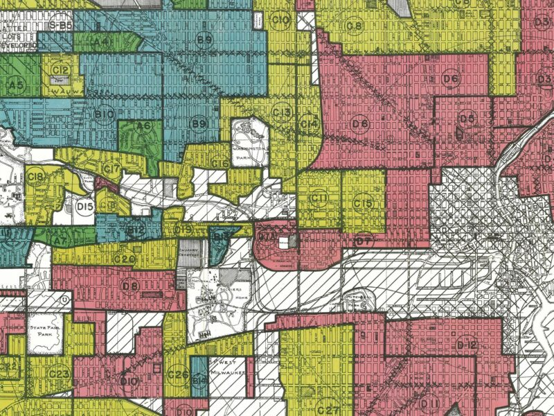 """Maps like this one from the federal Home Owners' Loan Corporation were meant to guide investment. Red, or """"hazardous,"""" areas were deemed risky investments, and often home to communities of color."""