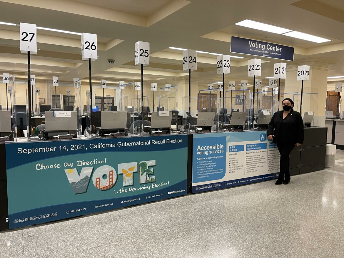 Evangelina Peña inside the San Francisco Department of Elections.