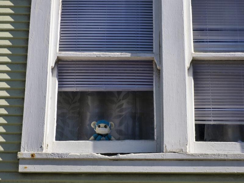 A crochet teddy bear peeks through the window of a family home in the Ingleside neighborhood. The teddy bear wears blue scrubs, a stethoscope and a mask.